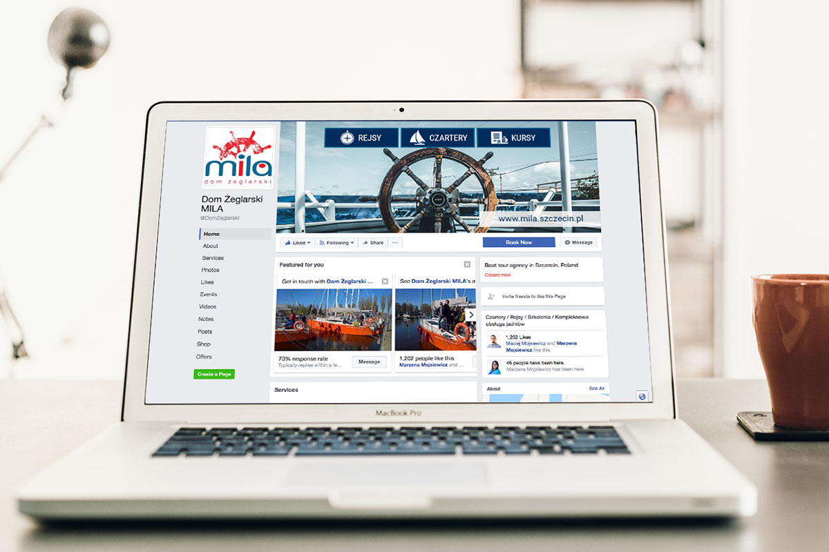 Social media, content marketing + portal eCommerce - Dom Żeglarski MILA